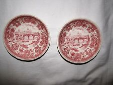 TWO red pink transferware BURGENLAND Villeroy & Boch toile Germany BERRY BOWLS