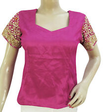 VINTAGE MAGENTA CHOLI INDIA HAND BEADED BLOUSE NET FABRIC TUNIC WOMEN ETHNIC TOP