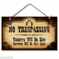 """No Trespassing"" Rustic Decorative Wood Sign Free Shipping"