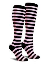 Soft Pink and Black Striped Cotton Knee High Socks Women Softball Sports Cosplay