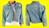 NEW LADIES WOMENS LUXURY SEXY DENIM JACKET CROP JEANS CROPPED 8 10 12 14 16 18