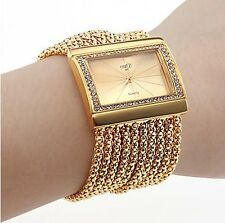 Fashion Women's Gold Band and Golden Dial Diamond Bracelet Style Wrist Watch LCH