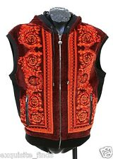$1195 New Versace Red Baroque Printed Velvet Hooded Vest Jacket XS