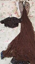 1930's Brown Fish Scale Evening Dress with Jacket