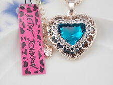 Betsey Johnson Fashion Jewelry Cute Blue Crystal Heart Pendant Necklace # A099
