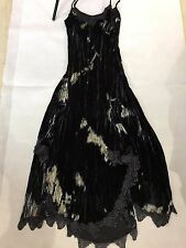 SIZE 14 LONG 'PER UNA' CRINKLE CRUSHED VELVET DRESS WITH ASYMMETRICAL LACE HEM