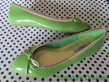 New TED BAKER Pea Green Bronze Patent IVEEY Ballet Pumps Flats Shoes - 36 / Uk 3
