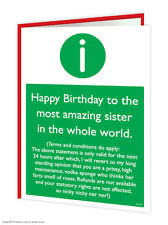 Brainbox Candy Sister Sis Birthday Greeting Cards funny rude cheeky joke humour