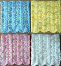 NEW Handmade Knit Crochet BABY Afghan Blanket Infant Throw Soft Wave Pattern #1