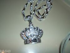 MIP Silver Tone KING crown blinged out pendant with a 30 inch hip hop chain