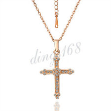 18K Rose Gold Plated Crystal Cross Pendant+18 inch*1.5mm Chain Necklace Set H80
