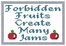 Counted Cross Stitch Pattern, Forbidden Fruits - Free US Shipping