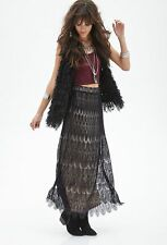 NEW Forever 21 Black Eyelash Lace Long Maxi Skirt Boho Chic S Small Beautiful!!!