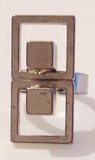 bague vintage art déco modèle cube couleur argent rodié brillant réglable 325