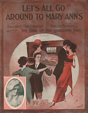 PLAYER PIANO on the cover LET'S ALL GO AROUND TO MARY ANN'S sheet music 1913
