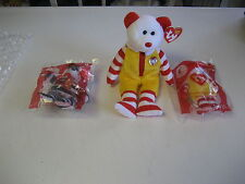 MCDONALDS TY RONALD MCDONALD BEANIE BABIE BEAR-NEW-MINT+ SM HAMBURGLAR & RONALD