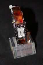 Jaclyn Smith Tortoise Shell Band Square Bezel Bangle Watch
