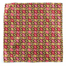 SANTOSTEFANO Handmade Red Pink Tan Brown Silk Pocket Square Handkerchief $150