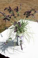 Fake Faux Artificial Lavender Bouquet in French Style Galvanized Bucket Pail