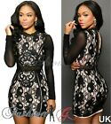 Ladies Womens Dress Mini Black Party Celeb Bodycon Lace Stretch Pencil Size 8 10