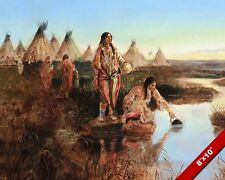 NATIVE AMERICAN INDIANS GETTING WATER OIL PAINTING ART REAL CANVAS GICLEEPRINT