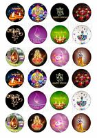 24 DIWALI CUPCAKE TOPPERS ICED ICING FAIRY CAKE BUN TOPPERS