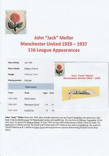 JACK MELLOR MANCHESTER UNITED 1929-1937 VERY RARE ORIGINAL HAND SIGNED CUTTING