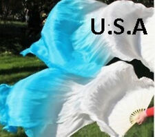 Silk Fan Veils Belly Dance 100% Silk Quick Ship USA Store       FREE GIFT