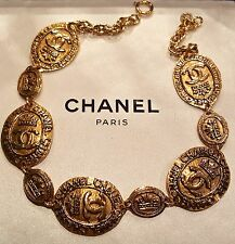 "Rare CHANEL GOLD PLATED CROWN MEDALLION CHAIN NECKLACE - EA with ""CC"" Logo's"