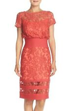 TADASHI SHOJI EMBROIDERED BLOUSON SHEATH CANTALOPE COLOR DRESS sz 8