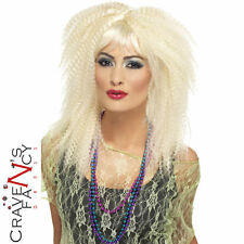 80s Trademark Crimp Wig Blonde Ladies 1980s Fancy Dress Costume Accessory New