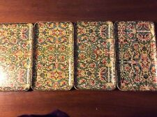 """Hand Printed Platters/ 8"""" by 4.5""""/ set of 4/made in Japan/Viking Import/multi co"""