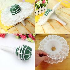 1Set Wedding Bridal Flower Decoration Bouquet Foam Handle Holder + Lace Collar