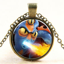 Vintage Cartoon Animation Cabochon Bronze Glass Chain Pendant Necklace OD181