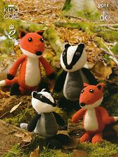 King Cole Toy Knitting Pattern 9011 Fox & Badger Toys in DK