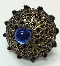 """New"" BIG Ring With 12mm Royal Blue Sapphire Gold Tone Kim Craftsmen Ring 1960's"