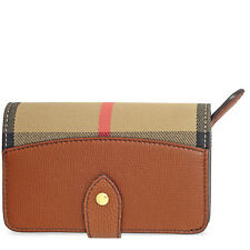 Burberry House Check Leather Wallet - Tan