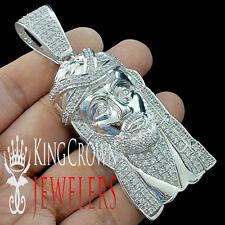 14K WHITE GOLD OVER REAL SILVER LAB DIAMOND MENS JESUS HEAD PENDANT FACE CHARM