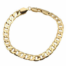 "Chunky Women Men 8"" Charm 14K Yellow Gold Filled Curb Bracelet Bangle Chain Gift"