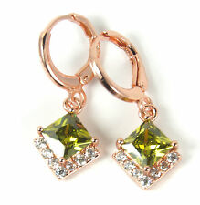 Women's 18 Carat Rose Gold Plated Green Zircon Huggie Hoop Earrings Jewellery