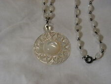 ...Vintage Carved Mother Pearl Pendant Necklace...