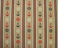 Nautical Anchor Ticking Linen Look Fabric - Curtain Upholstery Quilting Blinds