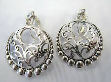 Silver Plated Designer Look Classic Dangle Clip On Drop Earrings # 3188 NEW
