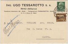 RHO - ING.UGO TESSAROTTO S.A. - CARTOLINA DOPPIA (MILANO) 1934
