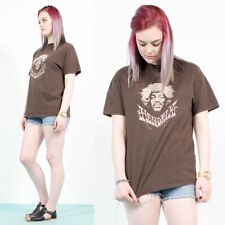 WOMENS RETRO BROWN JIMI HENDRIX CREW NECK BAND ROCK OVERSIZE T-SHIRT TOP 12