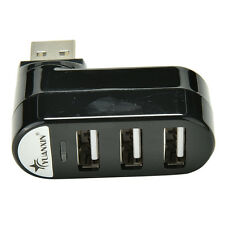 Mini 3 Port USB 2.0 Rotating Splitter Adapter Hub For PC Laptop Notebook Mac JG2