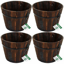 SET OF 4 GARDEN PLANTERS BURNTWOOD HALF BARREL PATIO GARDENING LAWN DECKING