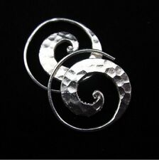 Fine silver earrings Hill tribe Thai karen Handmade hammered spiral circle shape