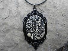 "SKELETON LADY- SKULL- ZOMBIE CAMEO PENDANT NECKLACE 2"" LONG-- QUALITY!!!!!!"