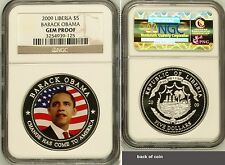 2009 Republic of Liberia $5 Barack Obama NGC PCGS Gem Proof Silver Plated Coin